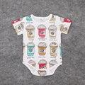 2016 Moda Bebê Menino Bodysuit Estrela Ice Cream Imprimir Algodão de Manga Curta Bonito das Crianças Dos Desenhos Animados Roupas para Recém-nascidos Macacão