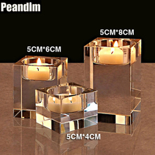 PEANDIM Wedding Decorations Candlelight Dinner K9 Crystal Candle Holders 3pcs/set Candles Free Gifts
