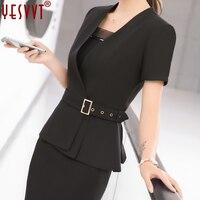 Yevvt Women Blazer Set Two Pieces Suits Summer Ladies Formal Skirt Suit Office Uniform Style Female