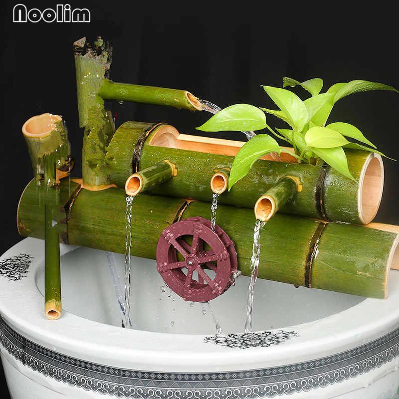 Indoor Water Fountains Feng Shui Resin Fountain With Led Bamboo Wheel Indoor Crafts Desktop Decor Fontes De Agua Decorativas Figurines Miniatures Aliexpress