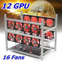 12GPU Aluminum Stackable Box Mining Platform with 16 Led Fans Outdoor Frame ETH / ZEC / Bitcoin