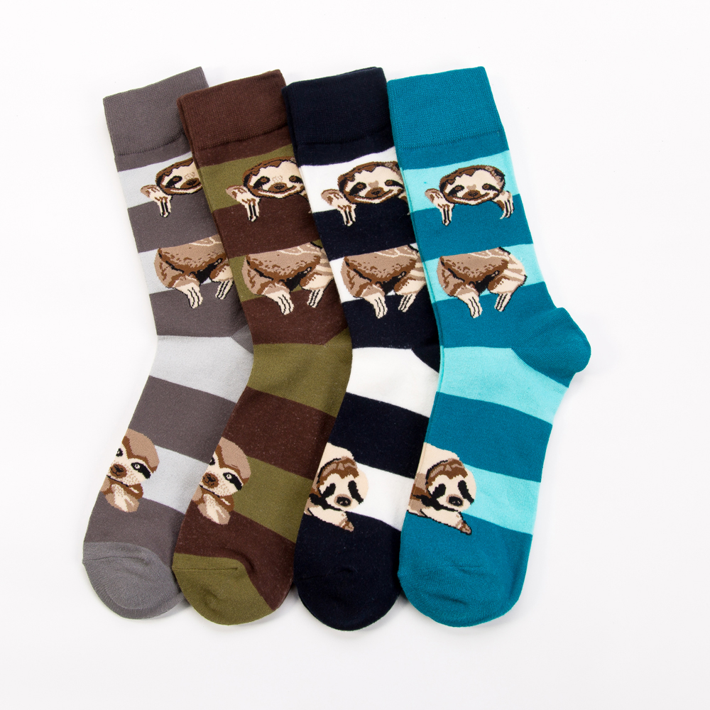 New Arrival Colorful Men's Cotton Sloth Pattern Crew Socks Personality Fashion Tube Tide Novelty Skateboard Socks For Gifts