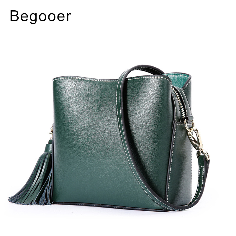 BEGOOER New Small Messenger Bag Women Genuine Leather Crossbody Bags With Tassels Mini Women Shoulder Bag Soft Cowhide Leather new brand genuine leather women bag fashion retro stitching serpentine quality women shoulder messenger cowhide tassel small bag