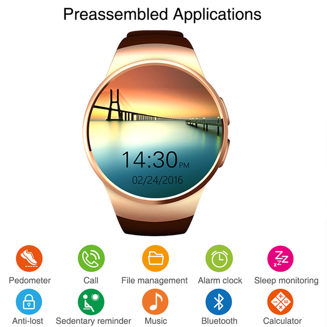 Smart Watch Men KW18 Bluetooth Smart Watches Heart Rate Pedometer SIM Smartwatch Answer Call TF Phone Watch for Android IOS