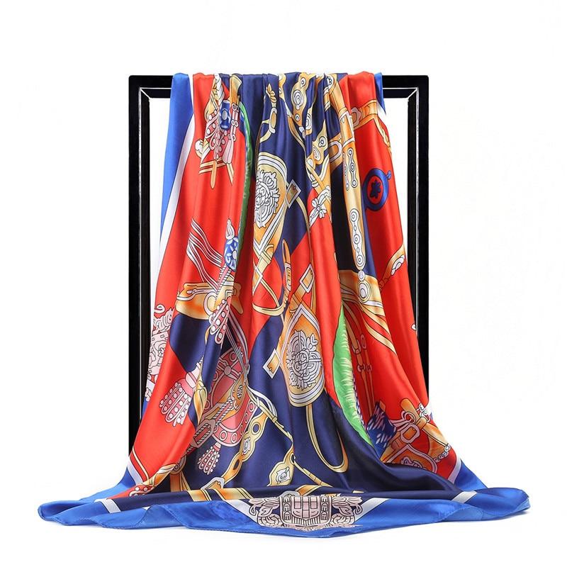 Women Scarf Luxury Satin Large Square Horse Hijab Silk Shawl Wrap Foulard Print Square Scarf Brand Design Handkerchief 90x90cm
