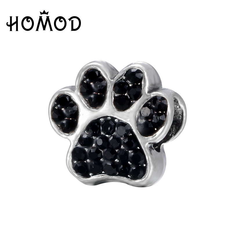 Honey Spinner Dog Paw Prints Crystal Charm Beads Fit Pandora Charm Bracelet For Women Diy Jewelry Accessories Gift Elegant And Graceful Jewelry & Accessories