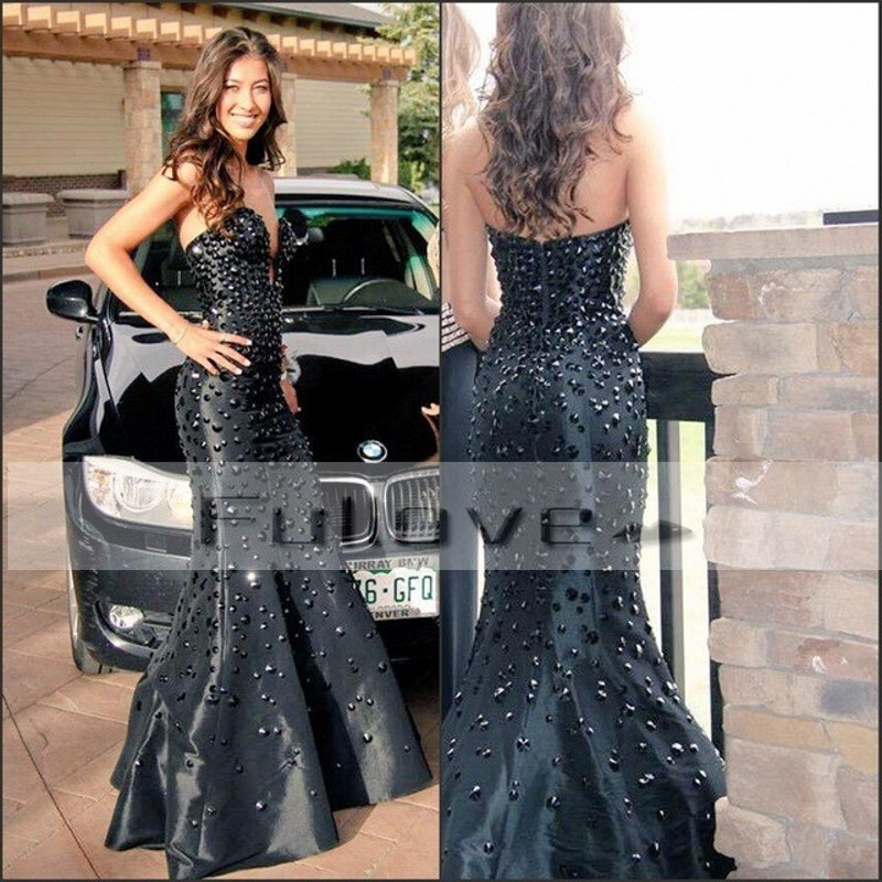 Modern Black Beaded Crystals Sweetheart Mermaid   Evening     Dresses   Long 2019 Chest Slit Floor Length Formal   Dress   Vestidos De Festa