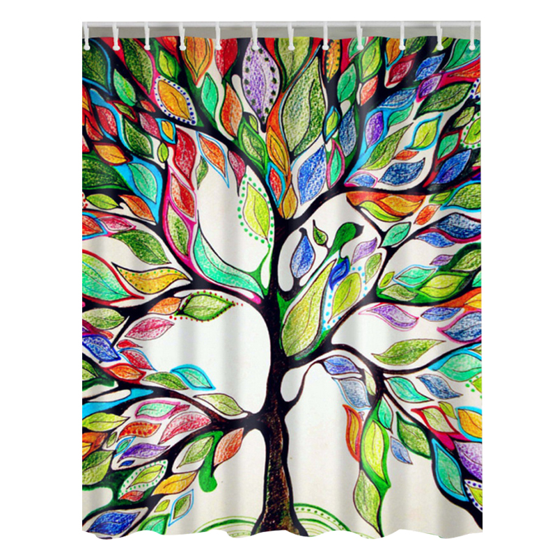 Fresh Pastoral Colorful Trees Print Shower Curtains Waterproof Bathroom Curtains Polyester 180x180cm 71x71inch With Hooks