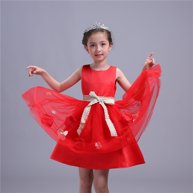 Summer Flower Girl Dresses Bridesmaid Elegant Party Sleeveless Princess Girls Pageant Prom Gown First Communion Vestido Cloth 2017 new flower embroidery girl dresses pageant party wedding bridesmaid ball gown prom princess long dress girl clothes