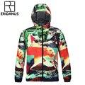 2016 Осень Прибытие мужская Ветровка Куртка Мода 3D Красочные Цифровая Печать Дышащий Прохладный быстросохнущие Пальто M378