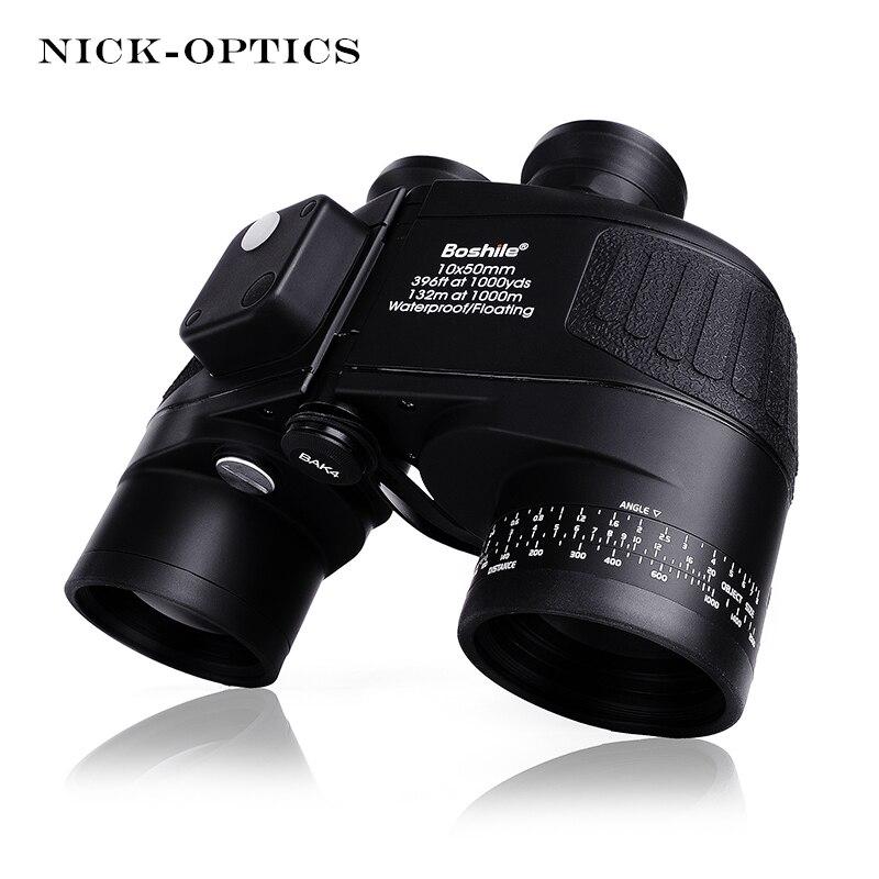 Boshile Военный бинокль 10X50 дальномер и компас Телескоп бинокль lll ночного видения HD мощный бинокль для охоты