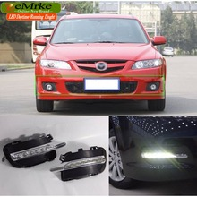 eeMrke Car LED DRL For Mazda 6 GG 2002-2008 Atenza 23S Hatchback Xenon White DRL Fog Cover Daytime Running Lights Kits