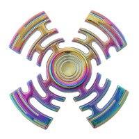New Style Rainbow Multicolor Maze Metal Fidget Spinner Hand Spinner Finger Spinner Stress Wheel Four Spinner Fidget Toy