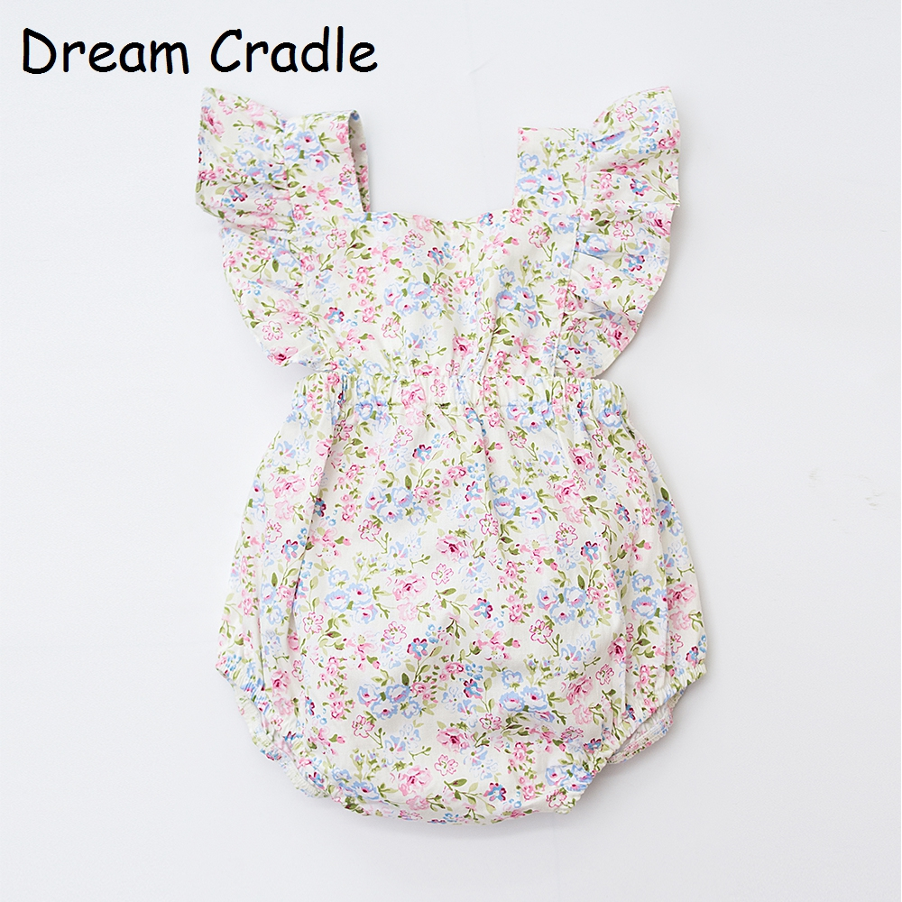 Dream Cradle , Cute Baby   Romper   ,Vintage Floral Baby Outfit , Ruffle Baby Girl Onesie