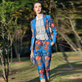 Brand Designer Runway Pants 2 Piece Suit Set 2015 Autumn Winter Women's Long Sleeve Print Jacquard Blazer Coat and Pants Set