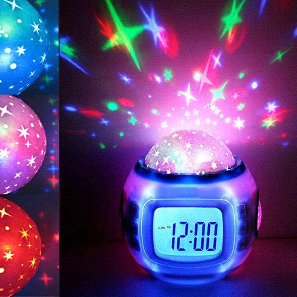 Fashion Digital Alarm Clock Music Led Star Sky Projection Digital Alarm Clock Calendar Thermometer Kids New Design Bedroom Decor