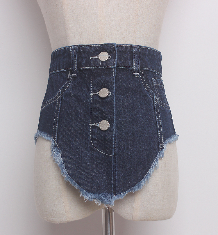 Women's Runway Fashion Denim Cummerbunds Female Dress Corsets Waistband Belts Decoration Wide Belt R1369