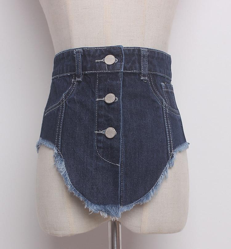 Women's Runway Fashion Denim Cummerbunds Female Dress Corsets Waistband Belts Decoration Wide Belt R1369