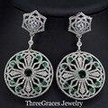 Elegant African Women Costume Jewelry Clear Cubic Zirconia Stone Pave Green Flower Long Big Dangle Earrings ER236