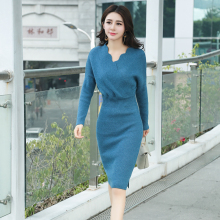 New Autumn Women dress Knitting Full Sleeve V-Neck Cross Long Sweater In Wavy Dresses Dark Grey Green Lake Blue 8106