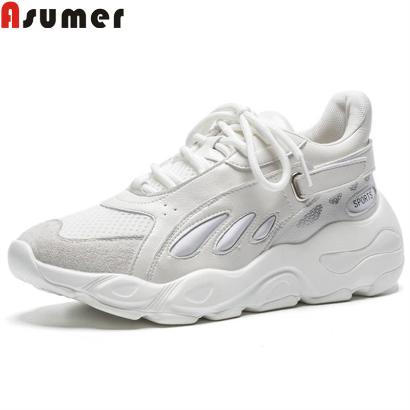 ASUMER fashion 2018 new arrive Four seasons shoes woman round toe casual sneakers lace up comfortable flat platform ladies flats new arrivals 2016 l solid plain lace up round toe platform flat heels comfortable flats sale women fashion shoes
