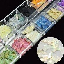 1 กล่องผสมไม่สม่ำเสมอเล็บเล็บ 12 สีเปลือก Paillette Ultra Thin Nail Art Flakes ตกแต่ง DIY เล็บอุปกรณ์เสริม LABK 1