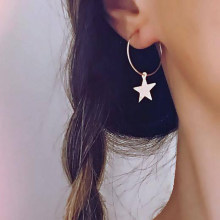Simple Metal Circle Star Piercing Hoop Earrings for Women Korea Style Small Pendant Charm Ear Studs Cuff Earrings Boho Jewelry(China)