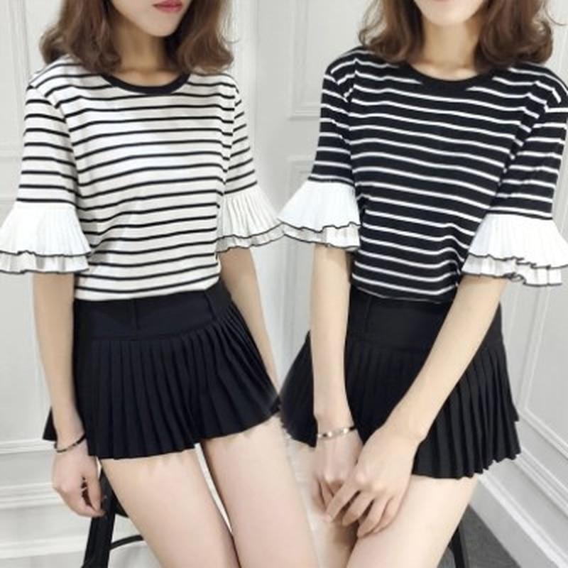 U-SWEAR 2019 Nieuwe Aankomst Mode Zoete Vrouwen T-Shirt Gestreepte Half Mouw Ruches Vlinder Mouw Slim Fit Vrouwelijke Tops T-Shirt