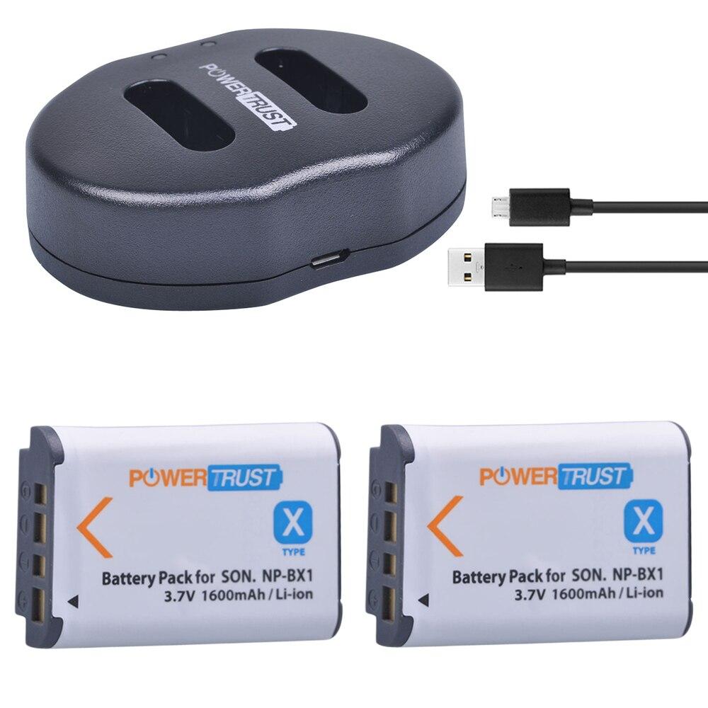 2 unids 1600 mAh NP-BX1 NP BX1 batería + cargador Dual USB para Sony DSC-RX100 DSC-WX500 HX300 WX300 HDR AS100v AS200V AS15 AS30V AS300