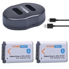 2Pcs 1600mAh NP-BX1 NP BX1 Battery +Dual USB Charger for Sony DSC-RX100 DSC-WX500 HX300 WX300 HDR AS100v AS200V AS15 AS30V AS300