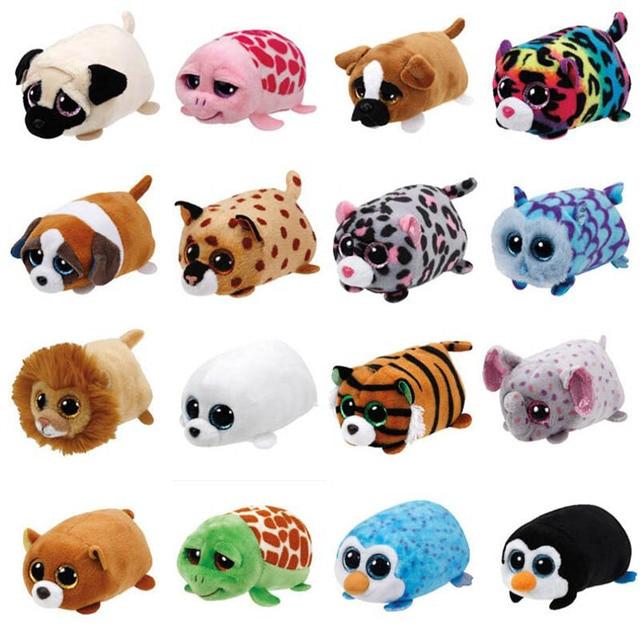 TY Beanie Boo teeny tys Plush - Icy the Seal 9cm Ty Beanie Boos Big Eyes Plush Toy Doll Purple Panda Baby Kids Gift Mini Toys