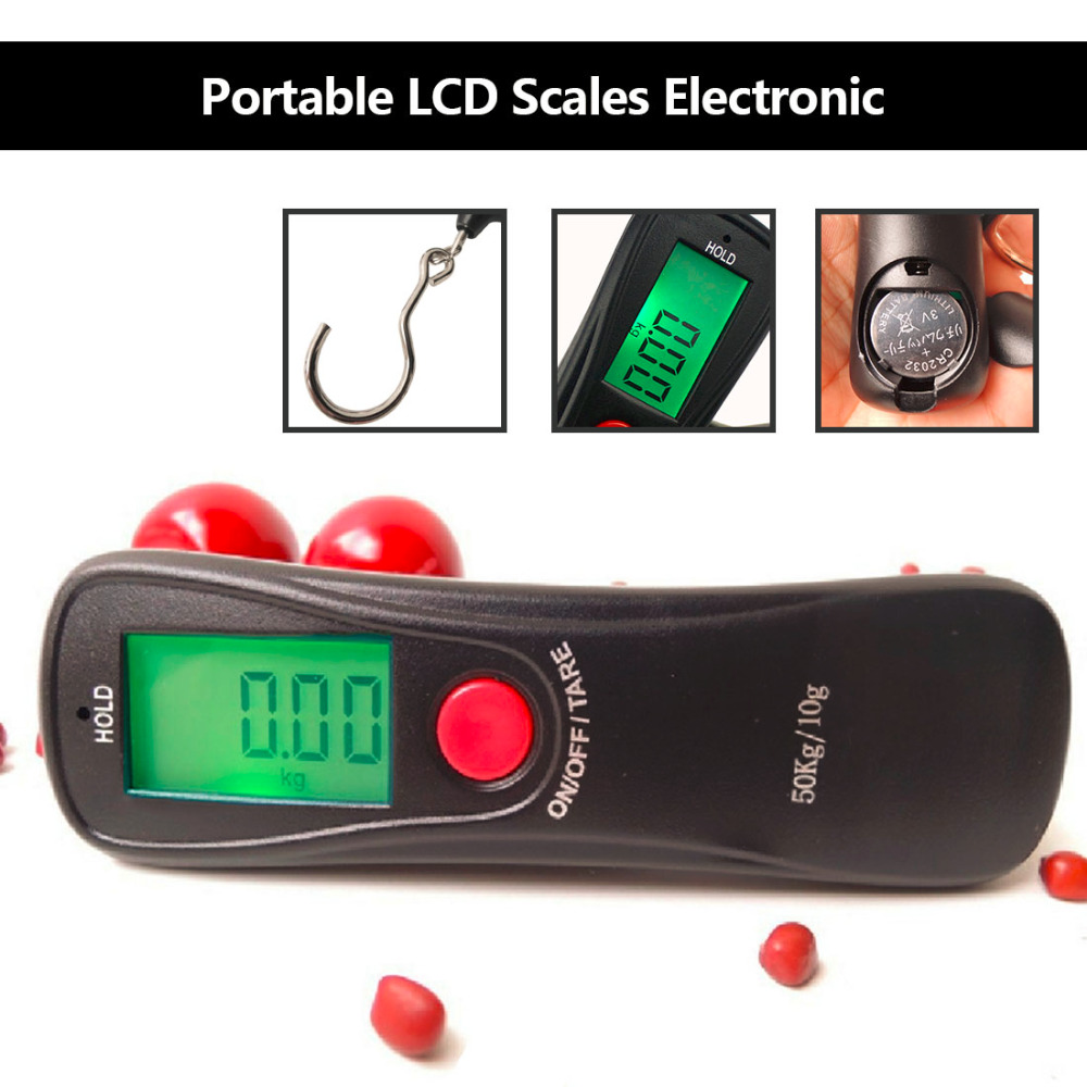 Useful Portable 50Kg LCD Display Digital Hanging Scales Electronic Weight Fishing Hook Scale Black Kitchen Scales portable 1 7 lcd digital kitchen timer green white black