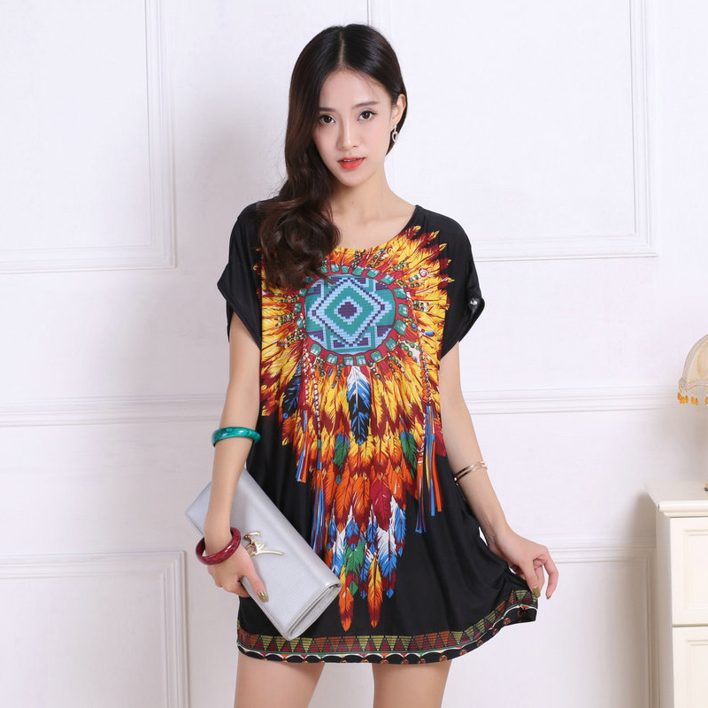 Baru 2017 T Shirt Dress Plus Ukuran Wanita Mencetak mini dress lengan pendek Longgar Kasual TEES Tops mode elegant dresses tunic