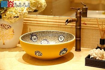 Lavello Tondo | Bagno Rotonda Lavabo In Ceramica Bacino Da Appoggio Lavata Guardaroba Dipinta A Mano Nave Lavello 5009