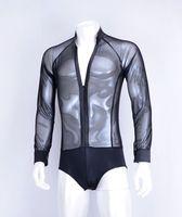 Sala da ballo ballo ballo Latino trasparente garza elastica manica lunga chiusura lampo del collare di V uomini pratica tuta camicia MS12012