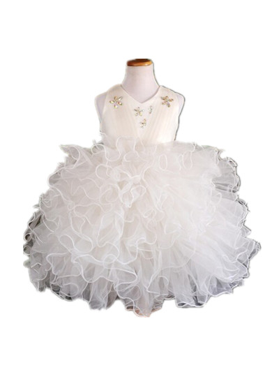 BABY WOW Baby Clothes 1 Years Birthday White Ivory Christening Dress Baby infant Princess Flower Dress