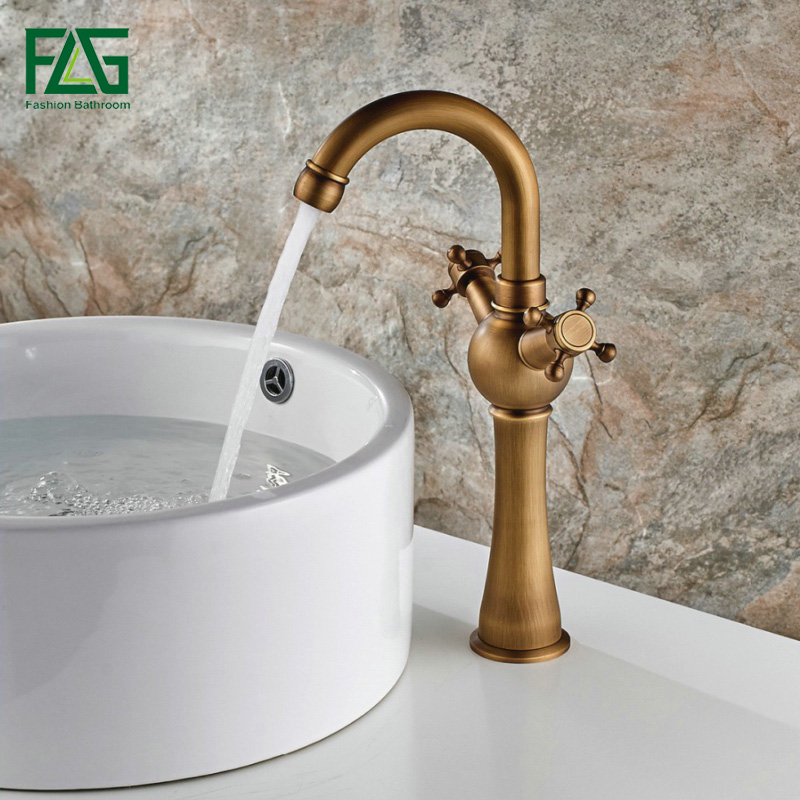 FLG European Nordic Retro Basin Faucet 100% Copper Antique Bathroom ...