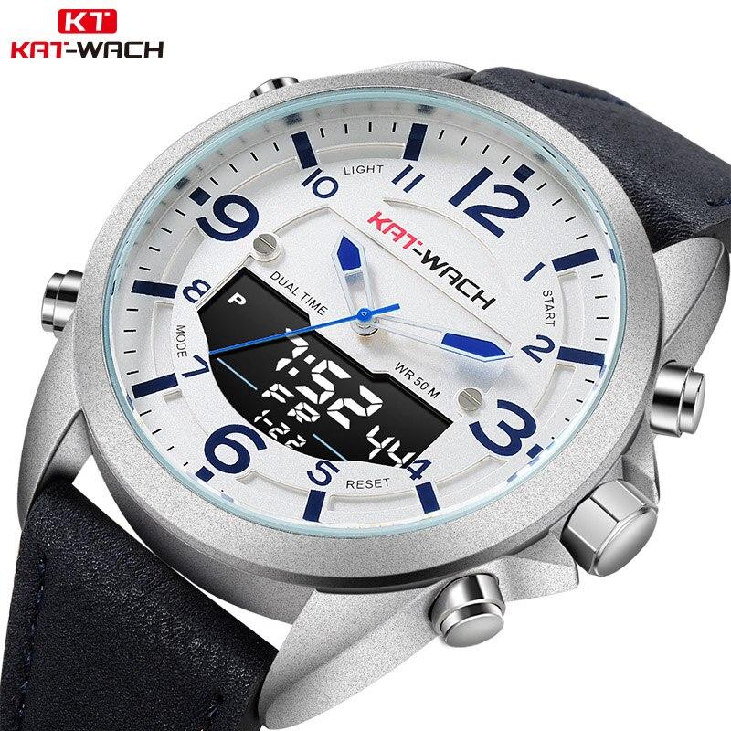 Leather Waterproof Quartz Wristwatches Men's LED Military Sport Clock