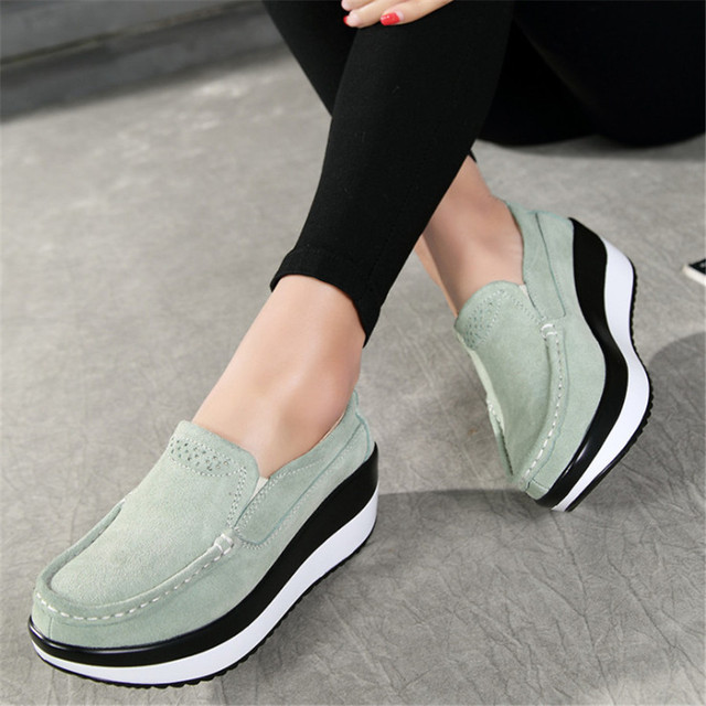 Platform Shoes Woman Flat Shoes Women Flats Slip On Leather Loafers Creepers Breathable Casual Shoes Plus Size 5-10 5