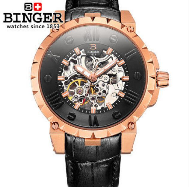 Switzerland BINGE watches men luxury brand mechanical hand wind full stainless steel Wristwatches water resistant B-5032-14 fashion men mechanical hand wind watches men skeleton stainless steel wristwatches for male luxury golden watch men