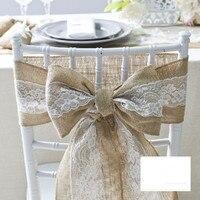 15 240CM Natural Jute Burlap Hessian Bowknot Ribbon With Pretty Flower Lace Trim Chair Cover Vintage