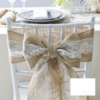 15 240CM Natural Jute Burlap Hessian Bowknot Ribbon With Pretty Flower Lace Trim Chair Cover Vintage