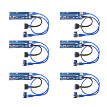 PCIe Riser мини pci-e USB 3.0 pci-e riser кабель pci-e 16x к 1x Powered стояка адаптера W/60 см USB 3.0 (6 шт) с DHL Бесплатная