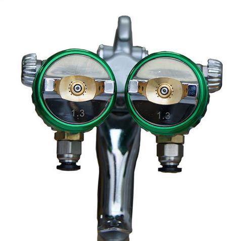 SAT1189 sprayer gun nano chrome painting high pressure double nozzle mirror pneumatic sprayer two head spray
