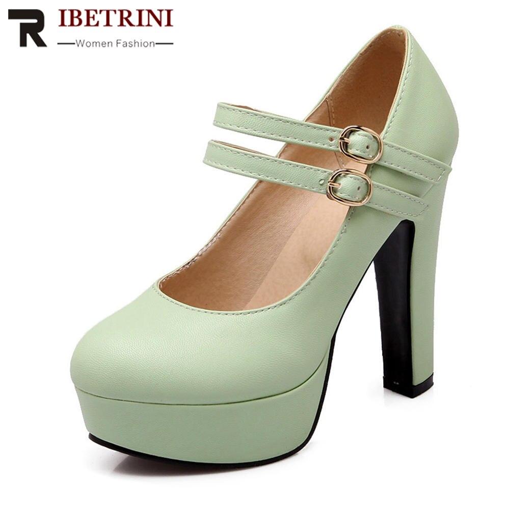 RIBETRINI Big Size 31-47 Women Pumps Fashion Mary Jane Shoes Woman Square High Heel Platform Shoes Party Wedding Footwear цена
