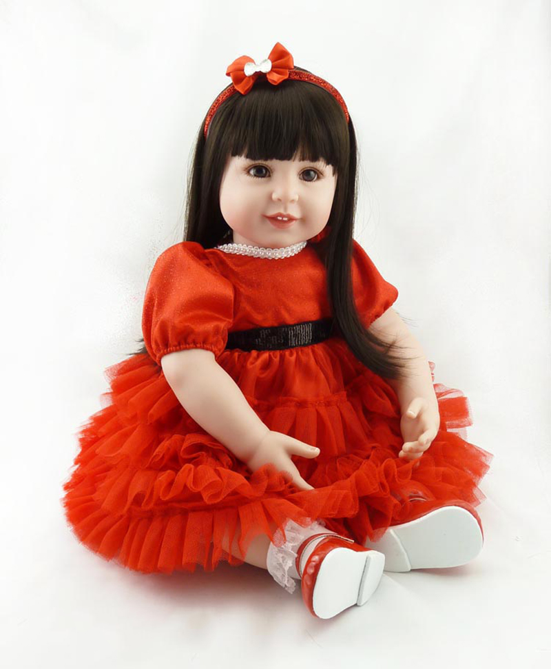 Pursue 22/56 cm Silicone Reborn Babies With Beautiful Red Princess Dress Smile Face Cotton Body Birthday Presents For Girls Fun pursue 22 57 cm reborn babies silicone