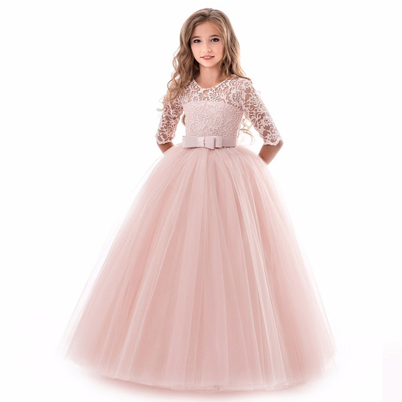 Pink 2019   Flower     Girl     Dresses   For Weddings Ball Gown Half Sleeves Tulle Lace Sash Long First Communion   Dresses   For Little   Girls
