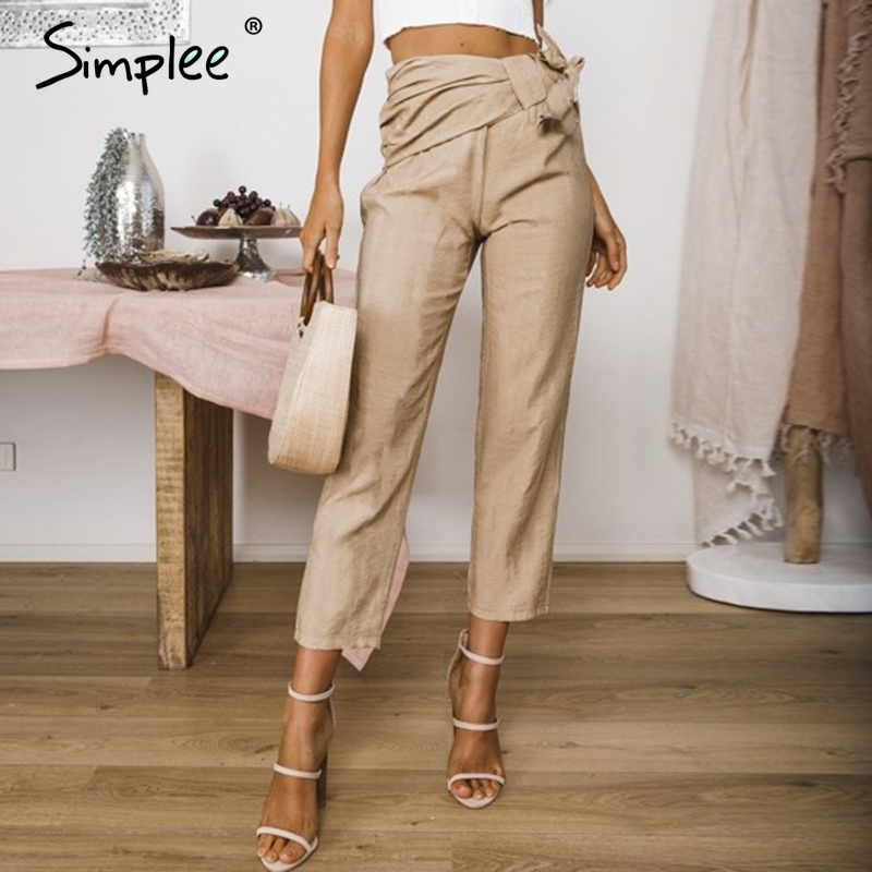 Simplee Casual Khaki Women Pants Summer Bow Elastic Sash Skinny Trousers Office Ladies Solid Fashion Spring Capris Pants 2019