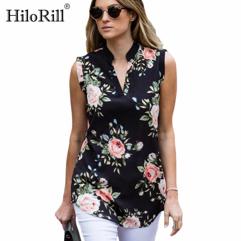 ファッションヴィンテージ花柄ブラウスシャツ 2019 夏ノースリーブシフォンブラウスセクシーな V ネックレディースシャツシュミーズ
