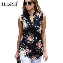Blusa con estampado Floral Vintage de moda 2020, blusa de verano sin mangas gasa, blusa sexi con cuello en V para mujer, camisa holgada informal